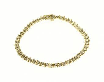 "10k Diamond Encrusted Tennis Wavy Link Bracelet Gold 7.5"""