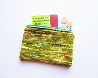 Chartreuse Green Turquoise Red & Black Vintage Barkcloth Fabric Coin Purse Business Loyalty Card Holder Zipper Bag Pouch