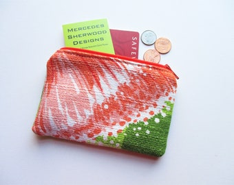 Orange Flower Brown Leaf Green Plaid Vintage Barkcloth Fabric Coin Purse Business Loyalty Card Holder Zipper Bag Pouch