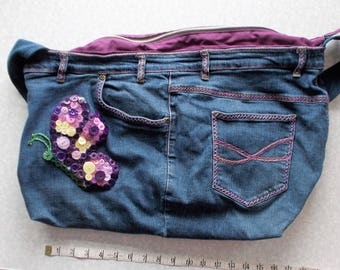 Butterfly Button Art Blue Jean Bag