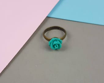 Teal Rose statement ring with antiqued bronze ring