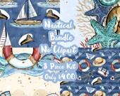 Nautical Mystery Bundle 8 Sheets Planner Sticker-Erin Condren Sticker-Happy Planner Stickers-Floral Stickers