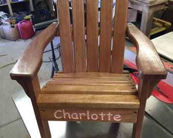 Reclaimed Mahogany Kids chair-2, Baby Shower gift, Childs chair, Adirondack with personalized name