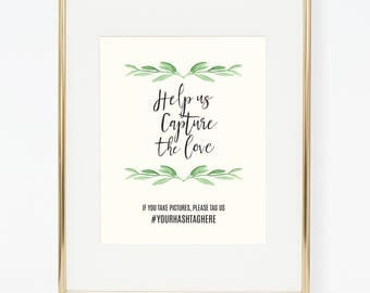Personalized Printable Hashtag Greenery Poster for Wedding