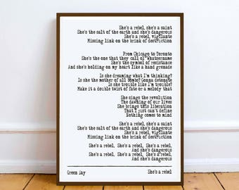 Green Day - She's a Rebel - quote - Lyric Art Typography music Print Poster romance love valentine