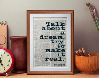 Bruce Springsteen  quote  - dictionary page literary art print home decor present gift books music