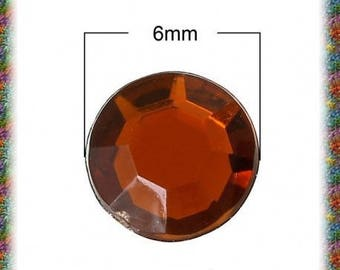 100 cabochons amber faceted 6 mm
