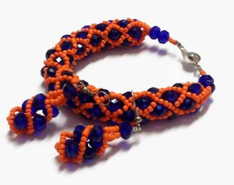 Coral And Blue Women's Woven And Twisted Bead Necklace, Earrings And Bracelet, Handmade African Jewellery Set