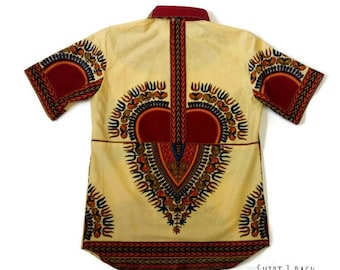 Beige African Print Matching Dashiki Family Wedding Anniversary Shirts, Groomsmen Sibling Shirts, Twins And Triplets, Family Reunion Shirts