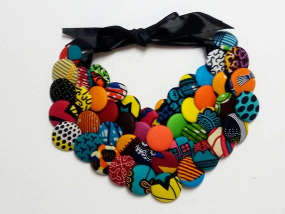 Women's Ankara Fabric Statement Bib Necklace
