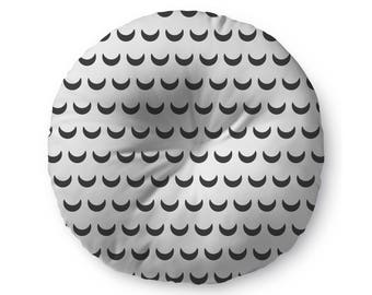 Black and White Crescent - floor pillow