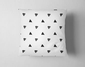 Black and white watercolor triangles throw pillow