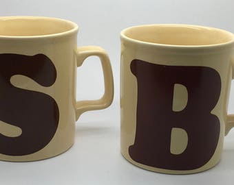 Vintage Kiln Craft Coffee Mug Initial S Or B Letter Monogram  Staffordshire Beige Brown Made In England You Choose Your Pick