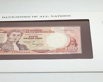 Banknotes Of All Nations Colombia 1983 100 Pesos Pick  426a GEM UNC  Franklin Mint Paper Money Souvenir Scrapbook Scrapbooking