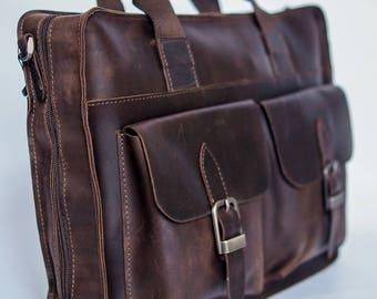 Brown messenger bag for men. Leather messenger bag for men. Leather Briefcase men. Men's bag. Antique grain leather. Messenger bag men