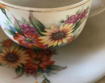 Vintage Floral Teacup and Saucer Set Made in Japan Sunflower Flowers