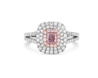 Pink Diamond Ring, Diamond Engagement Ring, 18K white and rose gold, Cushion Engagement Ring, Halo Diamond Ring, Pink Halo Ring