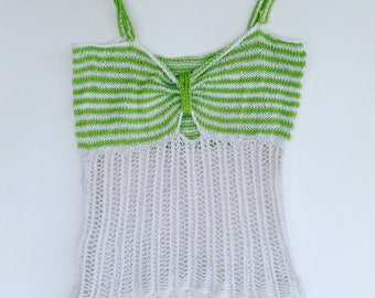 Grilled green and white cotton top