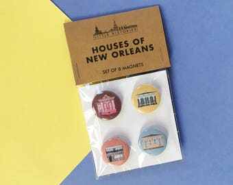 New Orleans Houses, Magnet Set (8 Pack) Buildings, Architecture Louisiana