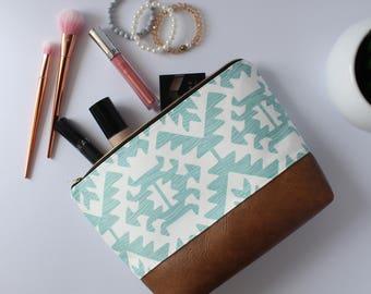 Blue & White Aztec Makeup Bag, Waterproof Cosmetic Bag, Vegan Leather Makeup Bag, Blue Toiletry Bag, Aztec Cosmetic Bag