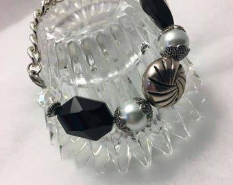 Black Silver Rhinestone Charm Bracelet