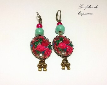 Earrings cabochon •FRIDA KALHO•