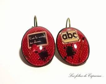 •The school • Cabochon Stud Earrings