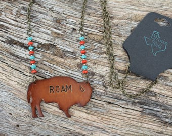 Leather and Czech Glass Bead Buffalo Roam Necklace, Western, Southwestern, Boho Handmade Jewelry