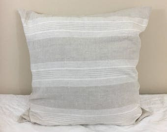 Costal Linen Striped Euro Sham Cover, weaved in linen and soft white yarn – Stylish in Stripes. 16x16 To 30x30 Decorative Throws
