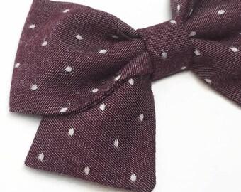 Burgundy Chambray Bow - Burgundy Sailor Bow - Burgundy Swiss Dot Bow - Fall Sailor Bow - Fabric Hair Bow - Chambray Sailor Bow