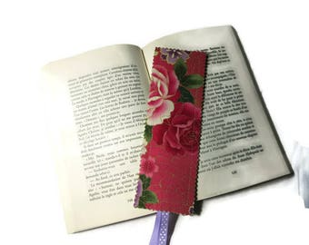 bookmarks, bookmark in green purple pink floral Japanese fabric