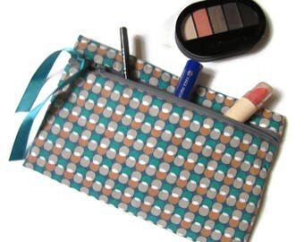 pouch bag, pouch for makeup, grey red green graphic print