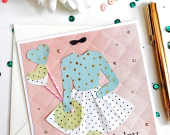 """Handmade Card with 3D Dress - Embossed & Embellished - Reads """"Happy Birthday"""" 
