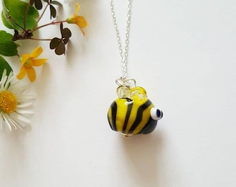 Bee Necklace - Manchester Bee - Worker Bee - Sterling Silver Necklace - Bee - Bumblebee - Gifts for Her - Lampwork Glass - Bee Bead