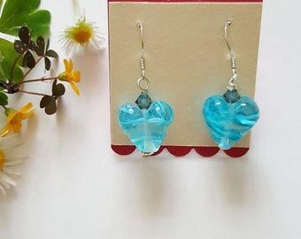 Striped Heart Earrings - Silver Earrings - Gifts for Her - Lampwork Glass - Heart Beads - Earrings - Swarovski Crystals - Heart Earrings