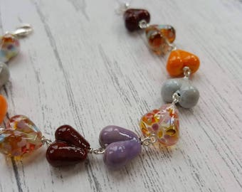 Autumn Hearts Bracelet - Sterling Silver Bracelet - Gifts for Her - Lampwork Glass - Autumn Bracelet - Bracelet - UK Made - Jewelry - Hearts