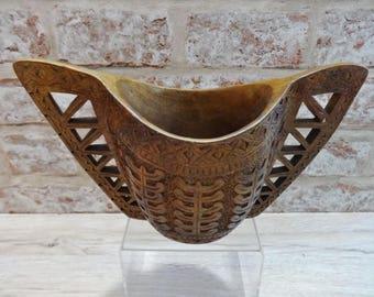 Vintage Scandinavian Wooden carved love cup  2 handles