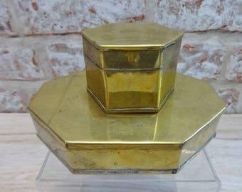 2 Vintage Brass trinket boxes hinged