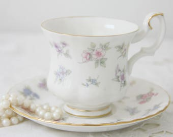 Vintage Royal Albert Bone China 'Cherish' Lady Size Cup and Saucer, Pastel Flower Decor, England