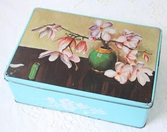 Vintage Cookie Tin with Flower Decor, van Melle, Holland