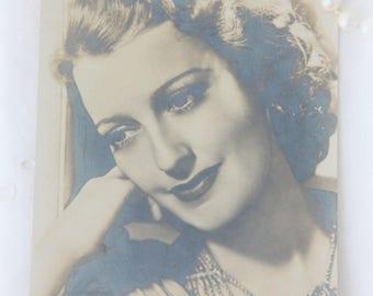 Vintage Postcard, Sepia Glamour Photo Portrait of Jeannette Mac Donald, Unused