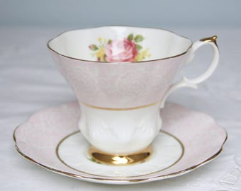 Lovely Vintage Royal Pink and White Cup and Saucer, Rose Decor, England
