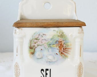 Vintage Salt Box, Kitchen Storage Box, Swan Decor, Victoria China, Czechoslovakia