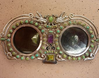 Vintage Rare Double Picture Matilde Poulat Matl Sterling Silver Turquoise & Amethyst Taxco Mexico Frame