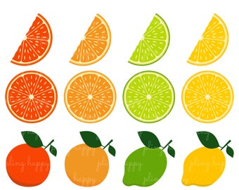 70% OFF Citrus Cliparts, Citrus Clipart Graphics, Personal & Small Commercial Use, Instant Download