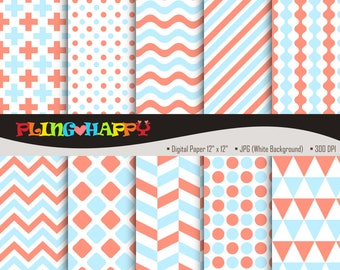 70% OFF Light Coral And Blue Digital Papers, Cross/Polka Dot/Wave/Stripe/Chevron Pattern, Personal & Small Commercial Use, Instant Download