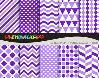 70% OFF Purple Color Set Digital Papers, Chevron/Polka Dot/Wave/Stripe Pattern Graphics, Personal & Small Commercial Use, Instant Download