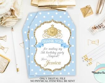 Cinderella Thank You Tags, Princess Favor Tags Printable, Cinderella Birthday Party, Princess Gift Tags, Carriage Favor Tags, Digital File
