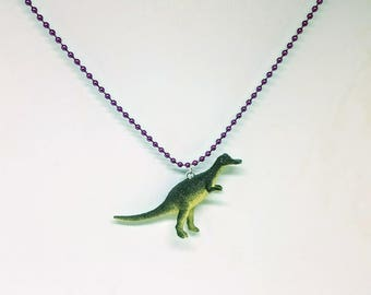 Dinosaur Necklace Purple Ball Chain Grey Dinosaur Jewelry Gifts 5 and Under
