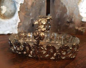 Vintage  Cut Glass Basket with Metal Handle-Vintage Ring Dish-Lead Crystal Bowl-Vintage Lead Glass Ring Holder-Wedding Decor-